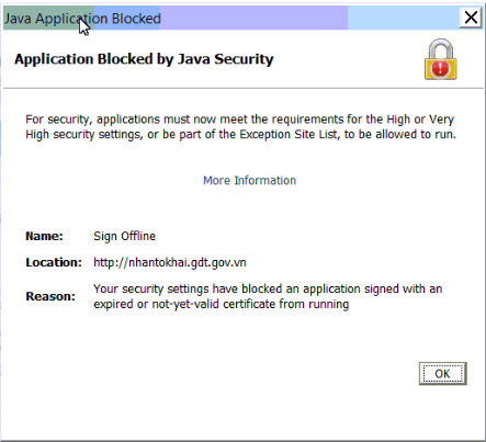 loi Application Blocked by security settings