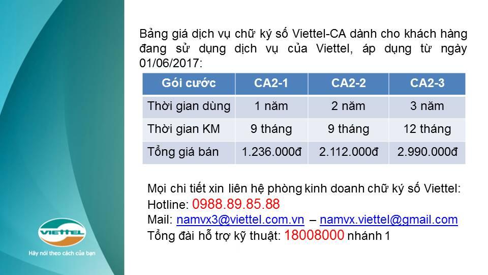 bảng báo giá gia hạn chữ ký số Viettel